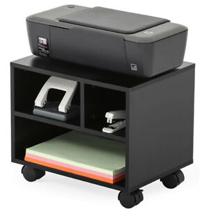 Mobile Under Desk Printer Stand With Wheels Fax Machine Rolling Cart Black Small