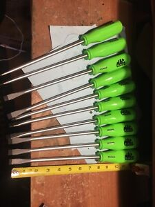 Lot Of 10 Mac Tools Green Screwdrivers Made In Germany Pch8g
