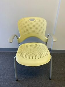 Herman Miller Caper Side Chair W Arms Light Yellow Stackable Side Chair