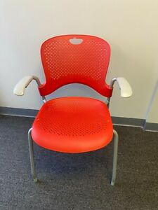 Herman Miller Caper Side Chair W Arms Orange red Stackable Side Chair