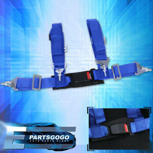 4 point 2 Blue Nylon Universal Strap Harness Safety Buckle Racing Seat Belt