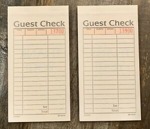 2 part Carbonless Guest Check Books 50 Checks Per Book 2 Books 100 Total