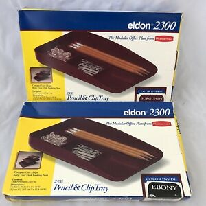 Eldon Rubbermaid Pencil And Clip Tray Lot Of Two one Ebony One Burgundy