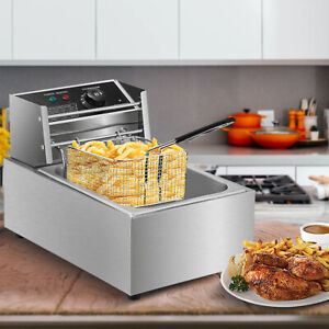 Electric Deep Fryer Stainless Steel Restaurant Home 2500w 6l 6 3qt Countertop
