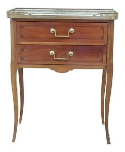 F51265ec Vintage French Marble Top 2 Drawer Nightstand