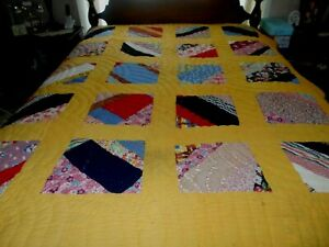 Vintage Full Size Completely Handstitched Patchwork Feedsack Quilt