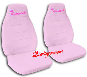 Universal Size Front Set Car Seat Covers Sweet Pink With Hot Pink Princess