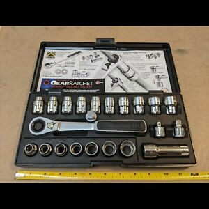 Gearratchet 22 Pc Sae Metric Geared Socket Set W Matco 1 2 Belt Tool Adapter