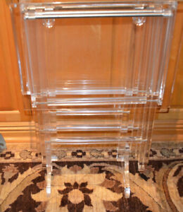 Acrylic Set Pair Of Lucite Mid Century Folding Tv Side Tables Storage Stand