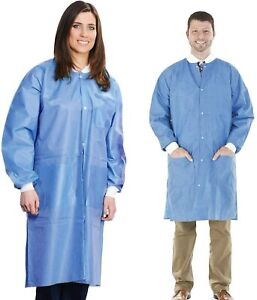 Disposable Lab Coat 10pcs Protective Sanitary Gown Blue Medical Size Large