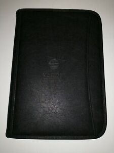 Leeds Portfolio Sabre Logo Black Faux Leather Zip Closure Notepad Organizer