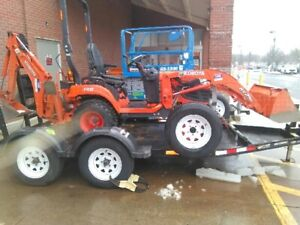 Kubota Bx25dlb r 1 Loader Backhoe 3pt Hitch tandem Axil Trailer Nice 2017
