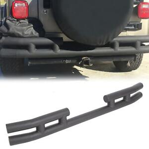 For 97 06 Jeep Tj 86 96 Yj Wrangler Black Rear Double Tube Bumper W Fixed Plate