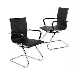 2pcs Heavy Duty Pu Leather W protective Arm Sleeves And Sled Base Office Chair