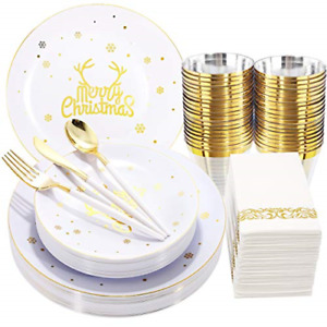 Nervure 175pcs White And Gold Disposable Plates gold Plastic Silverware With For