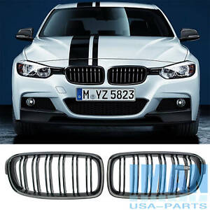 For 2012 18 Bmw F30 325i 328i Gloss Black Front Bumper Grille Grill With Emblem