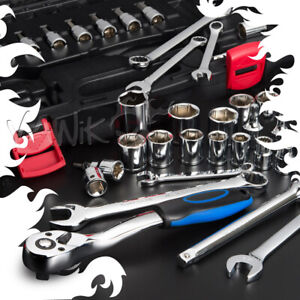 Vawik 40pcs 3 8 Drive Socket Wrench Tool Kit Fits Harley Bikes