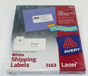 Avery White Shipping Labels Laser Printer 2 X 4 100 Sheets 1000 Labels 5163