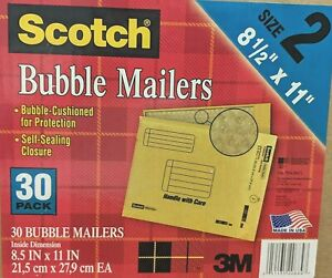 new Scotch Bubble Mailers 8 5 X 11 inches Size 2 30 pack Value Pack