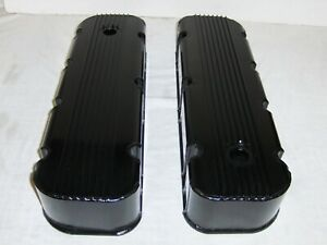 Black Fabricated Aluminum Big Block Chevy Tall Finned Valve Covers 396 427 454