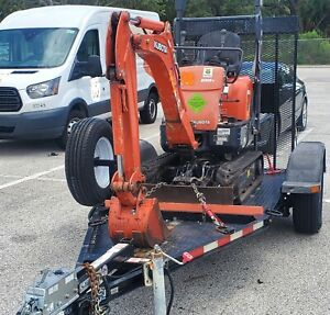 2015 Kubota K008 3 Mini Excavator scraper With Trailer digger tractor skid Steer