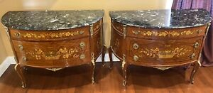 Pair Of Antique Xv French Floral Inlay Bronze Mounted Marble Top Commode Dresser