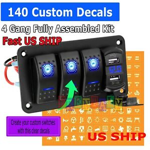 4 Gang Toggle Rocker Switch Panel Dual Usb For Car Boat Marine Rv Truck Blue Led
