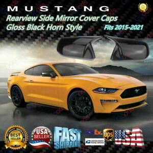 Gloss Black Rearview Side Mirror Cover Caps Horn Style For Ford Mustang 2015 21