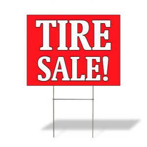 Weatherproof Yard Sign Tire Sale Outdoor Advertising Printing A Red Lawn Garden