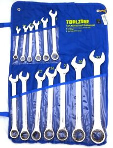 Fixed Head Large Ratchet Ring Spanner Wrench Set 13pc 8mm 32mm Metric Sp145 Tz