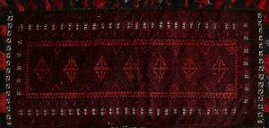 Vintage Vegetable Dye Balouch Afghan Geometric Tribal Area Rug Hand Knotted 2x4
