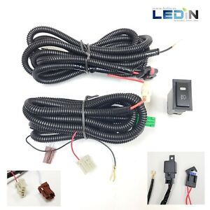 Fog Light Wiring Harness Relay Kit On Off Led Rectangle Switch 9006 2 Plugs Wire