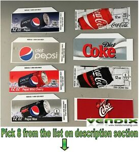 Pick 1 Flavor Tab Strips Soda Label Coke Pepsi Vending Machine Vendo Dixie Narco