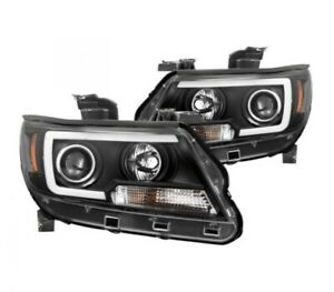 Spyder Black Led Drl Bar Projector Headlights For 2015 2019 Chevy Colorado