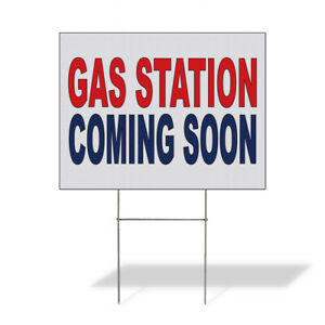 Weatherproof Yard Sign Gas Station Coming Soon Red Blue Lawn Garden