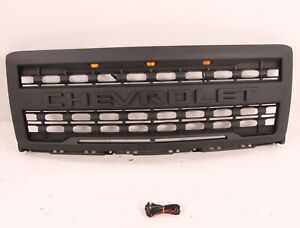Fit Chevrolet Silverado 1500 2014 2015 Front Grille With 3 Amber Lights Letter