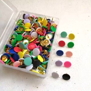 100p Push Pins Map Tacks Round Head Plastic For Fabric Sewing Bulletin Board
