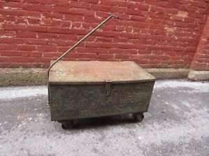 Vintage Industrial Heavy Duty Rolling Cart With Wheels Old Gm Tool Cart