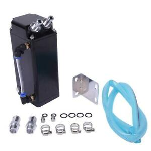 Square Style Aluminum Engine Oil Catch Tank Can Reservoir Breather Kit Black