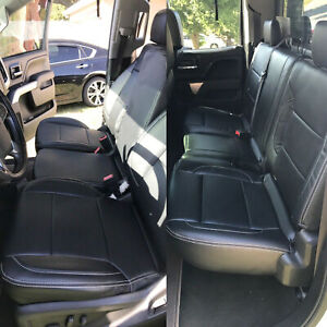 For 2014 2018 Chevy Silverado Lt Double Cab Full Set Seat Cover Leather Black