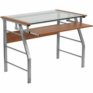 Home Office Glass Computer Desk W pull out Keyboard Tray Bowed Front Frame