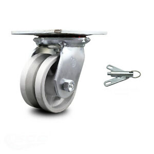 4 Inch Heavy Duty V Groove Semi Steel Caster With Ball Bearing And Swivel Lock