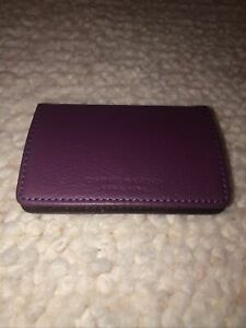 Campo Marzio Business Card Holder Pebbled Leather Purple