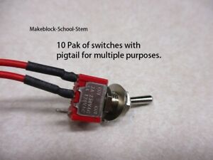10 Pak Spdt Miniaturetoggle Switches With Pigtail And Connector
