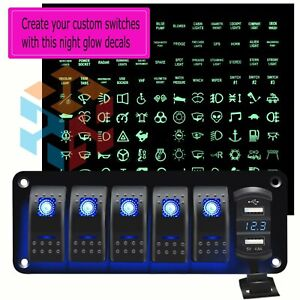 6 Gang Toggle Rocker Switch Panel Dual Usb For Car Boat Marine Rv Truck Blue Led