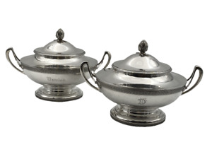 Pair Of Tiffany Co Sterling Silver Tureens Covered Dishes Circa 1870