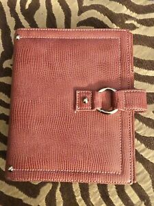 Franklin Covey Planner binder Coral Leather Snap 7 5 X 6 1 Rings