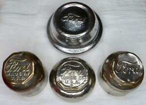 Lot 4 Different Vintage Ford Hub Dust Grease Cover Caps 3 Brass 1 Steel