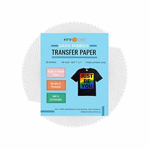Htvront Heat Transfer Paper For Dark Fabric 20 Sheets 8 5 X 11 T shirts Paper