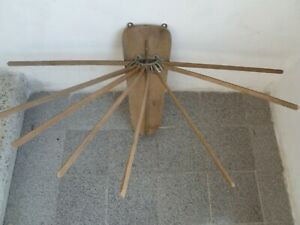 Old Vintage Wood Wooden 8 Arm Clothes Hanging Drying Rack Dryer